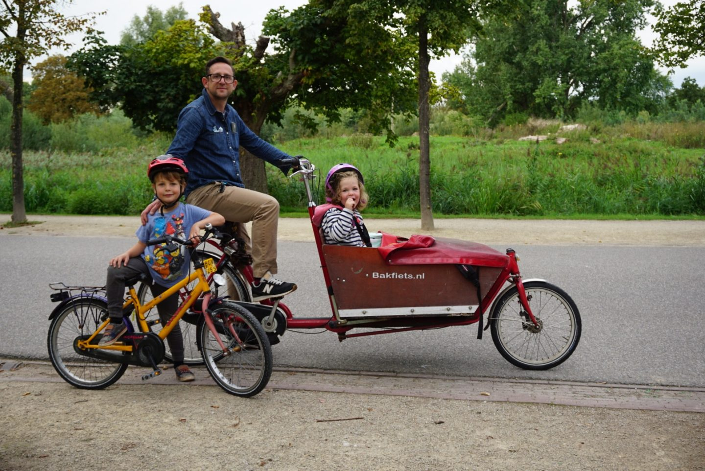 Museum Dad, Museum Boy and Museum Girl on our bikes in Vondelpark, Amsterdam